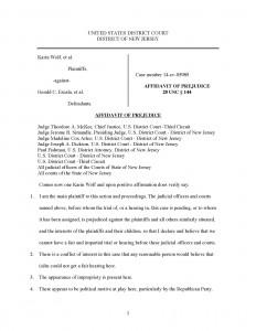Affidavit of Prejudice 1st page