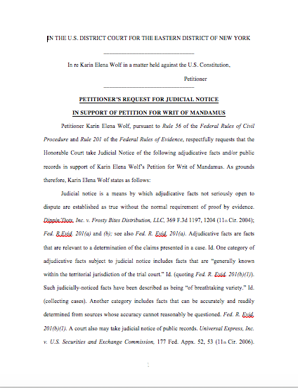 Judicial Notice for Writ 1st page
