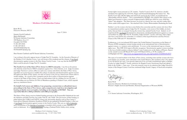 Letter to Senator Cardinale on Escandon
